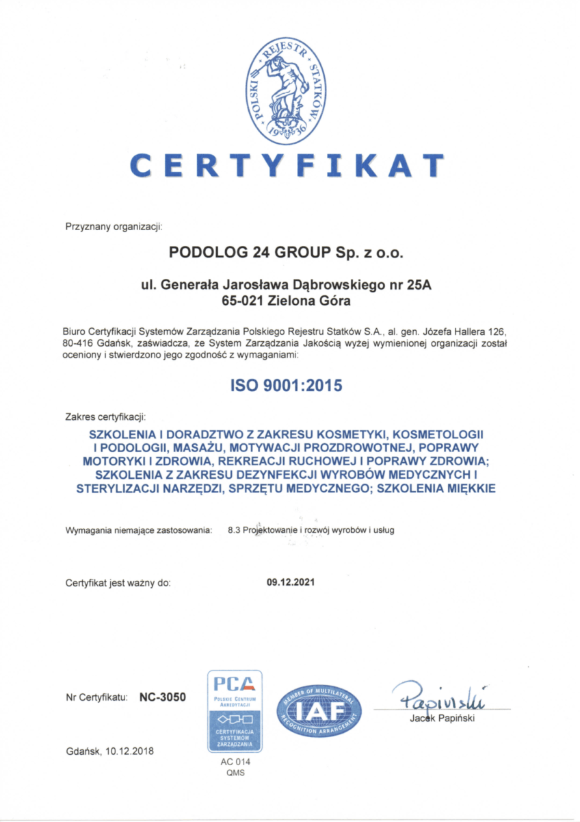 ISO - Szkolenia podologiczne